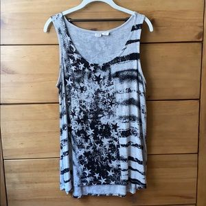 Artisan NY Gray & Black Stars & Stripes Tank / 1X